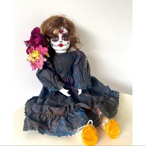 Dia de los Muertos ceramic music doll